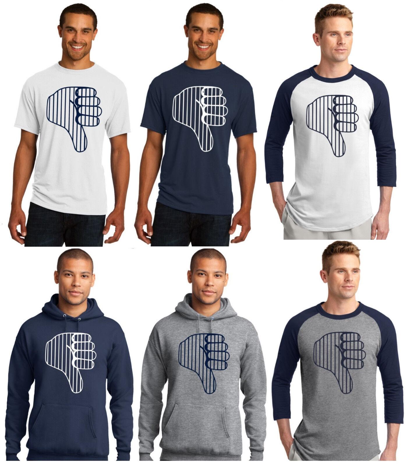 New York Yankees Pinstriped Thumbs Down Men's T-Shirt or Hoodie Sz S - 5XL