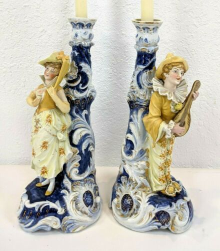 Antique Continental German Style Porcelain Figurine Candle holders, Couple.