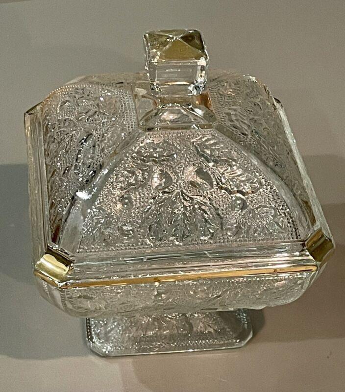 JEANETTE Clear Glass Covered Pedestal Candy Dish ACORN & OAK LEAF w/ Lid