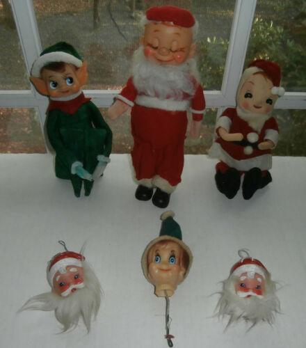 Lot of Vintage Christmas Pixie Plastic Felt Elves Santa Ornaments