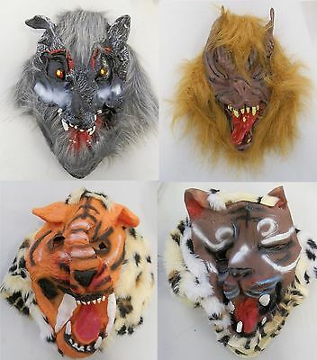 Wild Animal Horror Masks Rubber Leopard Tiger Wolf Devil Halloween Scary Mask  - Scary Tiger Mask
