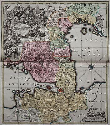 Finnland, Estland, St. Petersburg - Ingriae et Careliae - Seutter 1740 - Rare