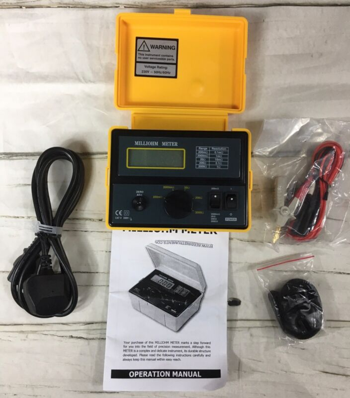 Milliohm Meter with Leads, 230V NEW - Open Box