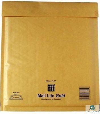 200 E2 E/2  Gold Brown 210 x 260 mm Padded Bubble Wrap Mail Lite Postal Bag NEW