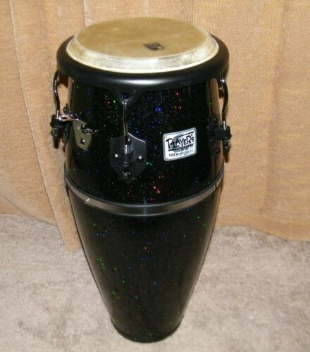 "Toca Black Sparkle Fiberglass Conga - 10"" Head 28"" tall"