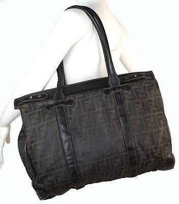 Vintage c.1970's Fendi Zucca Pattern Large Shoulder Tote Bag Black Leather Trim