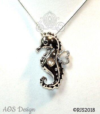 Seahorse Pearl Cage Silver Locket Charm Accented Crystals Ocean Sealife Fish