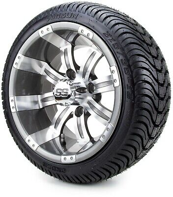 "12"" Tempest Gunmetal Golf Cart Wheels and Tires (215-35-12) - Set of 4"