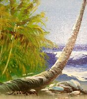 Beachfront Oil Canvas Lot Signed