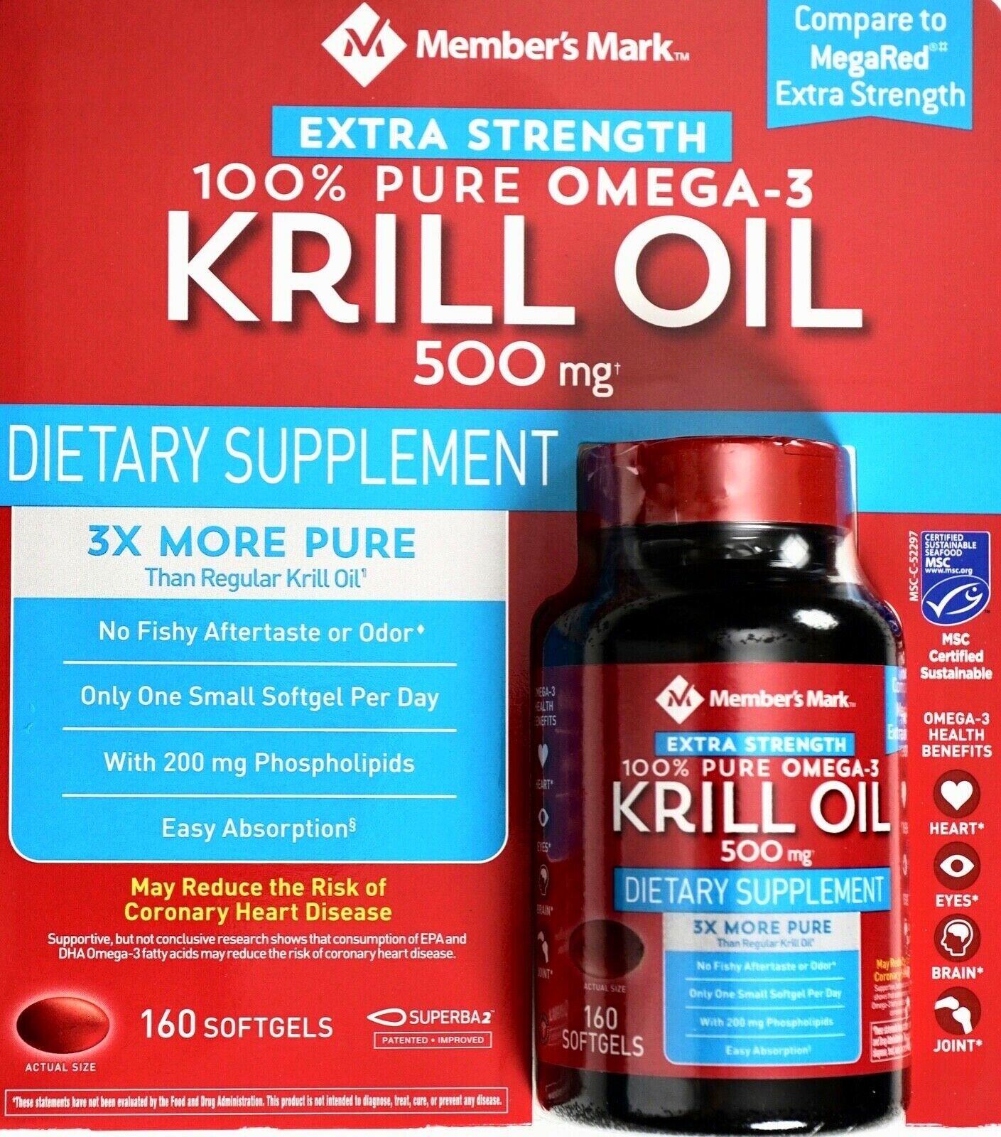 Member's Mark Extra-Strength 100% Pure Omega-3 Krill Oil 500mg Softgels