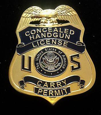 CONCEALED Handgun License  Badge Money Belt Clip 2.75 In Blue US GOLD Plating