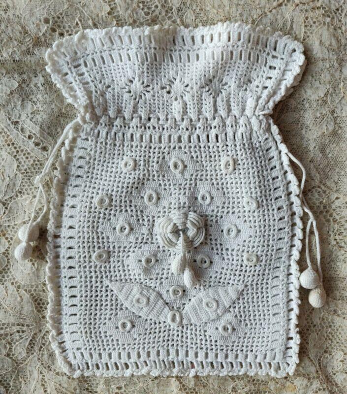 Antique Edwardian Irish Lace Fine Crochet Reticule Bag Rose Tassles