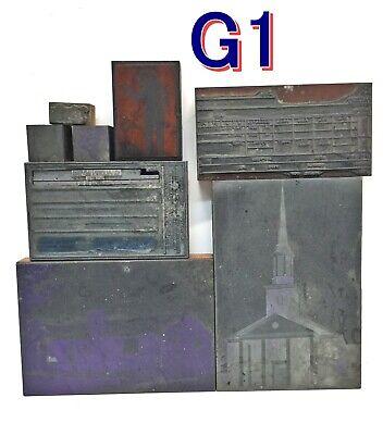 Lot Of 8 Vintage Letterpress Printers Blocks Leadcopperwood G1