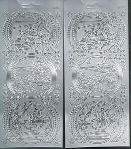 CIRCLE-SCENES-SILVER-PEEL-OFF-CHRISTMAS-STICKERS-2-SHEETS