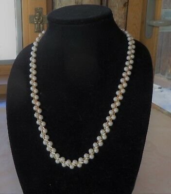 Faux Pearl Necklace Double Row Ivory White Gold Tone Chain 24