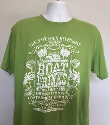 Margaritaville 5 O'Clock Riverboat Boat Drinks Mens T Shirt XL Distressed Green