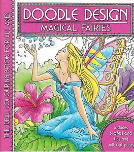 Magical Fairies Colouring Book - Doodle Design - Art Therapy