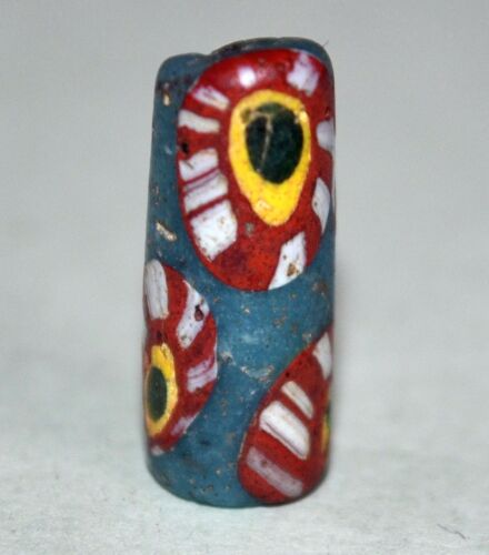 Ancient Islamic Blue Bead With Colorful Cane Inserts Found In Mali African Trade