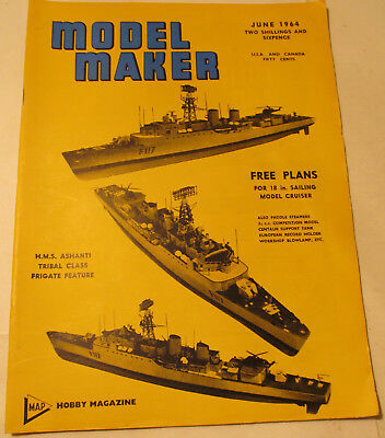 Model Maker Magazine, June 1964, Ships, Boats, Ashanti, Petrel, Pilot, Bounty