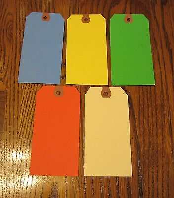 100 COLORED BLANK SHIPPING HANG TAGS SCRAPBOOK GIFT INVENTORY PAPER LABEL ()