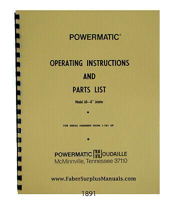Powermatic 8 Model 60 Jointer Sn 1-101 Up Operator Parts List Manual 1891