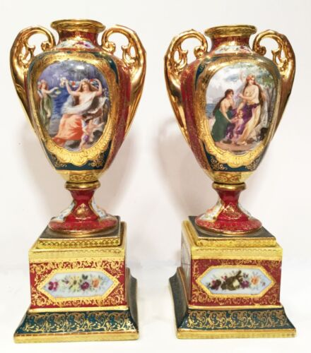 """Pair of porcelain urns. Royal Vienna hand painted.  8.25"""" tall. No chips."""