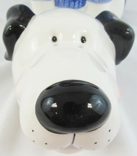 """Vintage Mercuries Bow Wow Dog Cookie Jar 11"""" Blue Knit Sweater"""