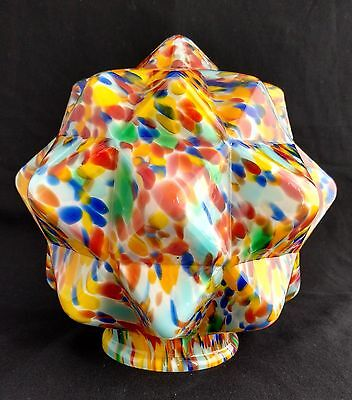 """ART DECO RADIO LAMP LIGHT SHADE END OF DAY STAR GLASS SHADE TABLE LAMP 3-1/4"""""""