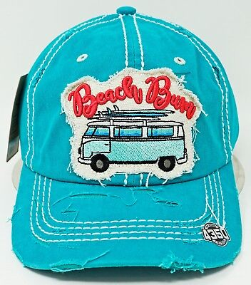 BEACH BUM Ball Cap Pigment Washed Distressed Dad Hat Adult OSFM NWT