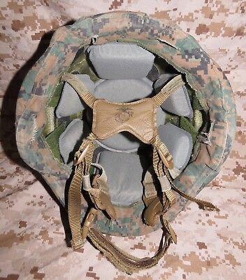 USMC GENTEX LIGHTWEIGHT HELMET USMC KEVLAR MILITARY REVERSIBLE COVER LARGE