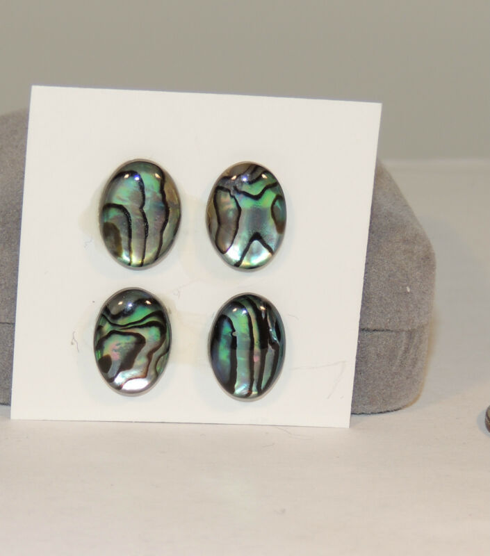 Abalone Cabochon 10x14mm with 3.5mm dome Cabochon Set of 4 (3733)