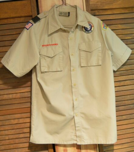 Boy Scouts of America BSA Uniform Shirt Khaki Adult Small w/ Patches