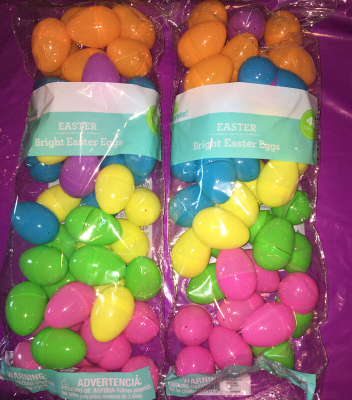 Easter Celebrate Bright Plastic Easter Eggs Lot of 2 (48) Each- Total of 96 Eggs