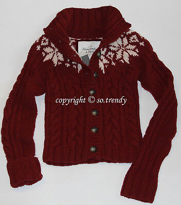 NWT! ABERCROMBIE Womens Vintage Hand Knit Cable Cardigan Sweater Burgundy L - New Hand Knit Cable
