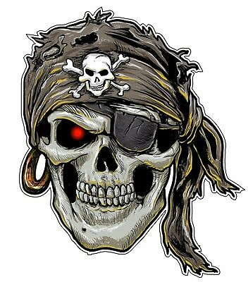 Bumper Sticker Vinyl Decal - Skull Pirate Bumper Sticker Vinyl Decal