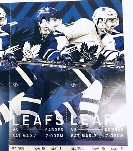 Leafs vs Sabres tickets March 2nd aisle seats