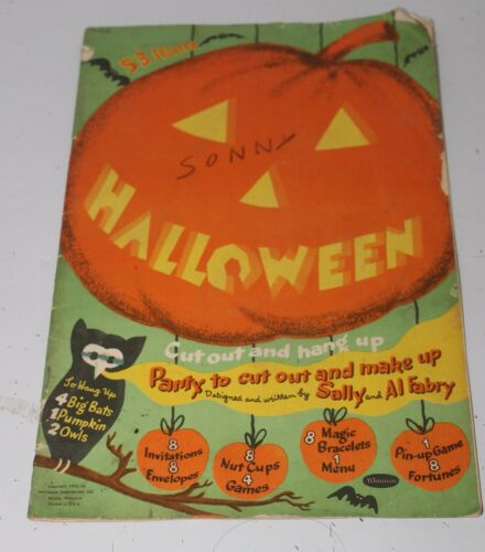 VINTAGE 1953 WHITMAN HALLOWEEN PARTY BOOK Decorations PB
