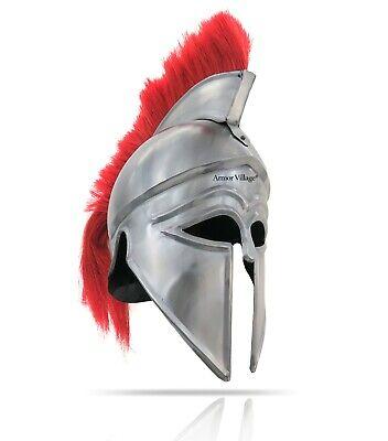 "Medieval Greek Corinthian Helmet Red Plume Armor Antique Replica, Chrome, 16"""