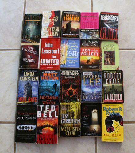 Mystery Thriller Suspense Paperback Books Lot of 20 Crime Murder Assassin Death