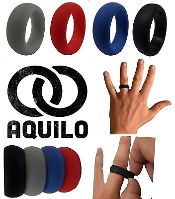 AQUILO Silicone wedding Ring Band rubber ring Crossfit, Best Flexible (Best Rubber Wedding Bands)