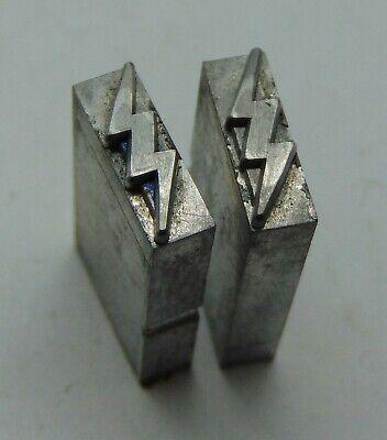 Vintage Printing Letterpress Printers Block Lead 2 Small Lightning Bolts