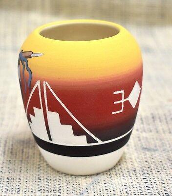 Lakota Sioux Pottery Native American Hand Made Four Direction Custom Sm Barrel