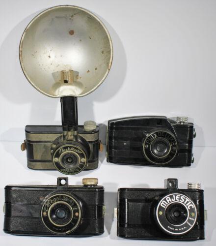 Four Vintage 127 Film Cameras. Majestic, Regal, Flash-Master, Clix Deluxe