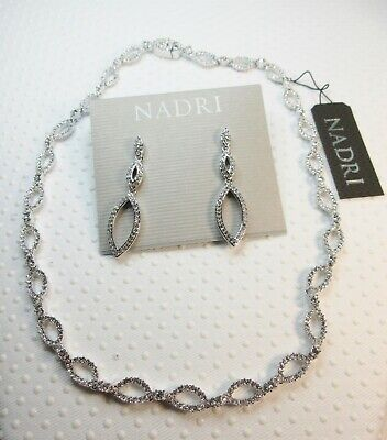 NEW Nadri Rhodium plated Pave Crystal Link Necklace and Crest Drop Earrings Set