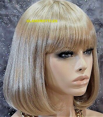 Bob Short Straight With Bangs Ash Blonde Full Synthetic Wig Hair Piece #22  - Blonde Wig With Bangs