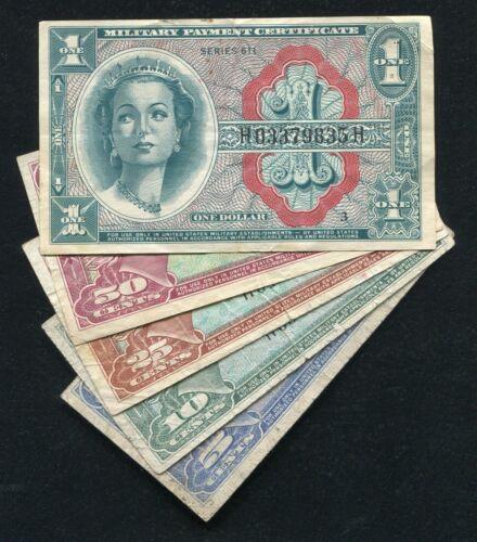 SERIES 611 $1, 50 CENT, 25 CENT, 10 CENT, & 5 CENT MPC MILITARY PAYMENT CERTIF