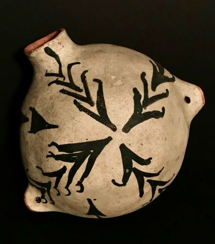 HISTORIC COCHITI POTTERY BULBOUS CANTEEN,GREAT OLD TAG,EXCELLENT ORIGINAL CONDIT