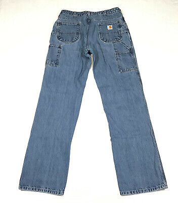 Womens Carhartt 32x34 blue Jeans work pants WB01 Farm Carpenter Loose fit Carhartt Womens Work Pants