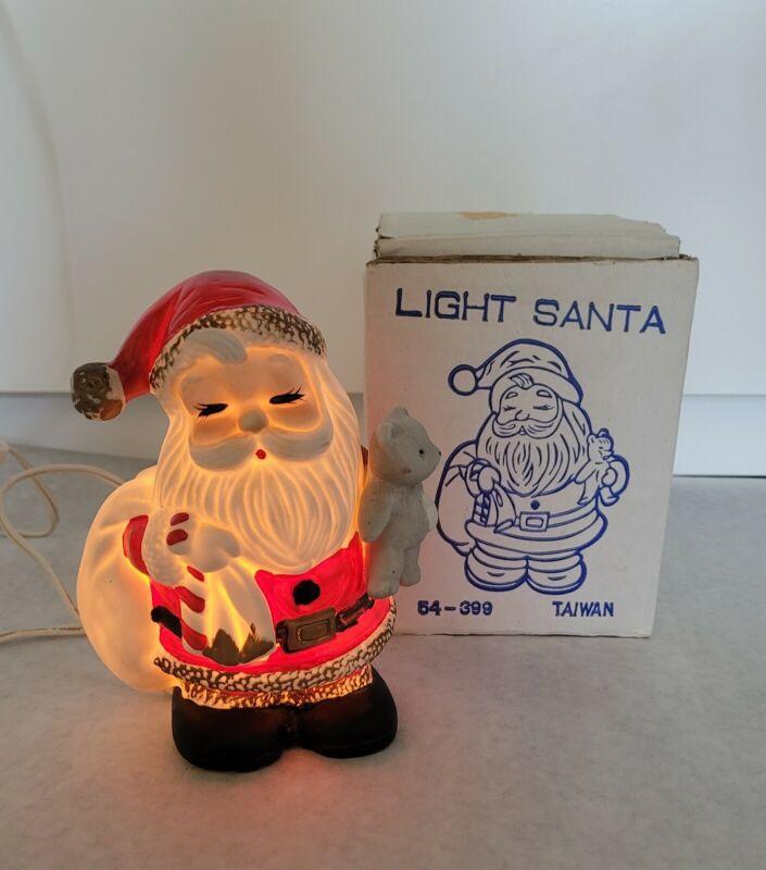 Vintage Lighted Ceramic SANTA CLAUS With Bear Christmas Decor Taiwan Box