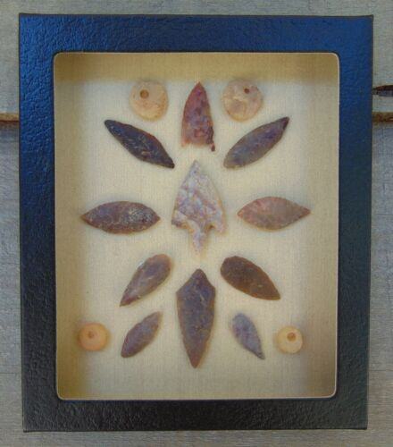E508) 5X6 Framed Neolithic Artifacts display arrowheads beads points arrow head
